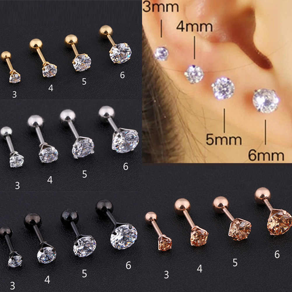 1/PCS Gem Stainless Steel Stud Earring Crystal Fashion Stud Cartilage Tragus Bar Helix Upper Earring Sliver Gold 3-6mm Round Ear