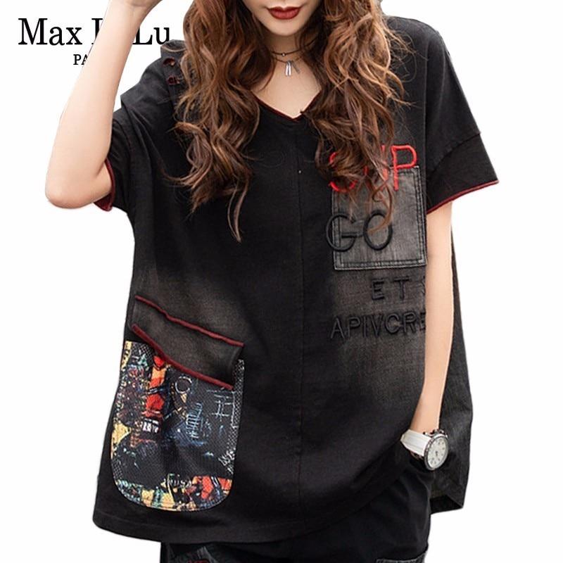 Max lulu 2019 verão coreano moda senhoras preto topos das mulheres oversized v pescoço tshirt vintage retalhos feminino denim camisas