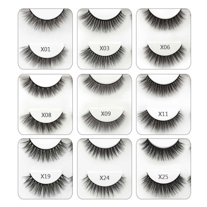 SHIDISHANGPIN 3 pairs false eyelashes natural long 3d mink eyelashes hand made mink lashes full strip lashes makeup false lashes