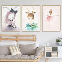 Nordic Dream Rabbit Fairy Girl Cartoon Hanging Children Room Kindergarten Oil Painting Style Wall Decoration Drawing Core