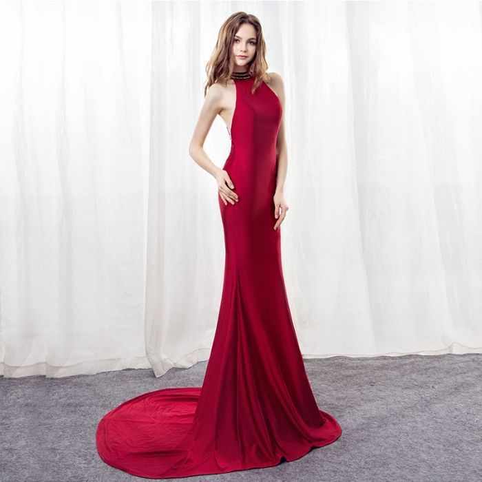 Backlakegirls Elegant Halter Red Mermaid Evening Dress 2018 Court Train Hot  Sale Time Limited Discount Fromal Evening Prom Gowns-in Evening Dresses  from ... 2539b93f5adf