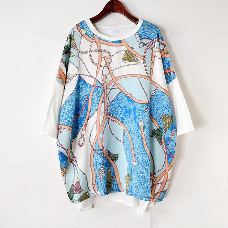 Long Women Europe Fashion 2019 Spring Summer O-neck Short Sleeve T-shirt Female Patchwork Casual Irregular Tee E470 3