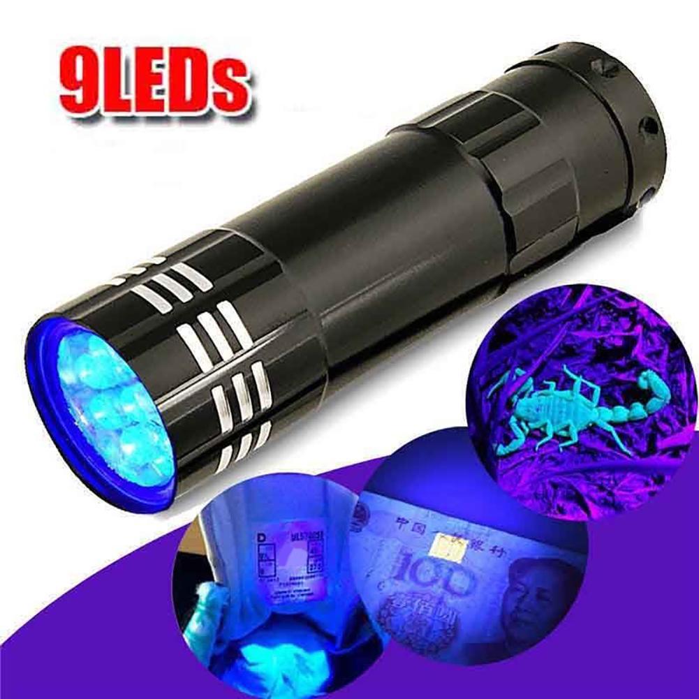 Mini Aluminum Multifunction UV Ultra Violet 9 LED Flashlight Torch Light Lamp