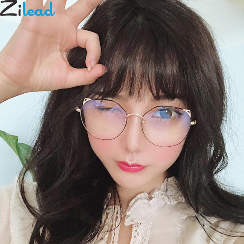 63fd825ec8428 Orelhas de Gato De Metal Zilead Acabados Óculos de Miopia Para Mulheres    Homens Limpar Óculos