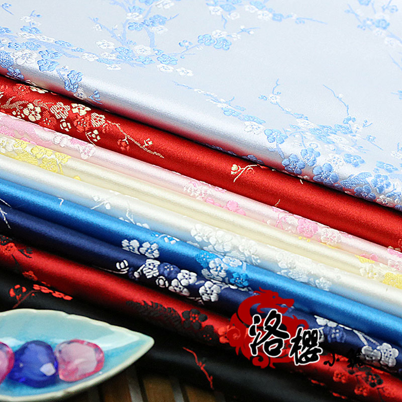 Vastag kínai damaszt jelmezruhák Qipao ruhák Kimonó szatén szilva Jacquard Brocade szövetek