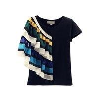 Women Fashion Black Patchwork T Shirt Short Sleeve T Shirt Female Ruffle Cotton Casual T Shirt Top