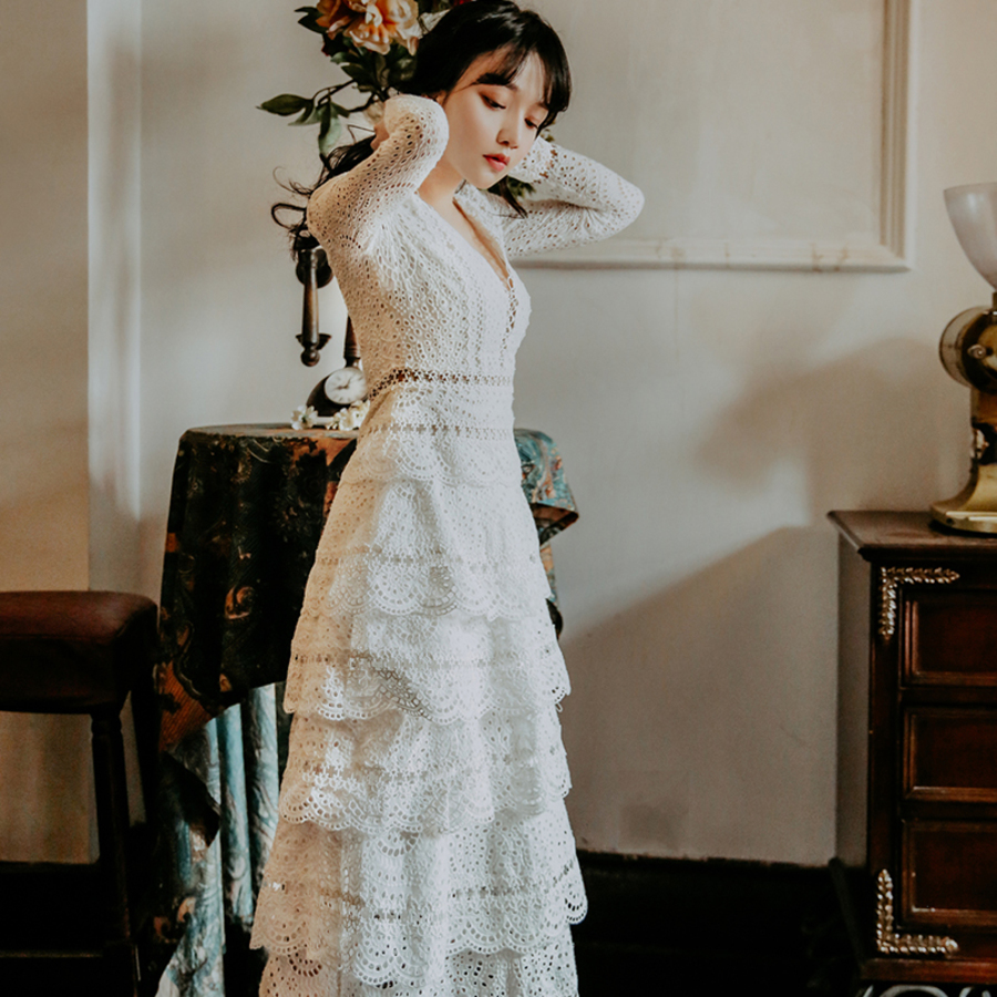 Vintage Summer Lace Dresses Female Elegant Hollow Out Party Dress Sexy V neck Long Sleeve Dress Women Vestidos in Dresses from Women 39 s Clothing