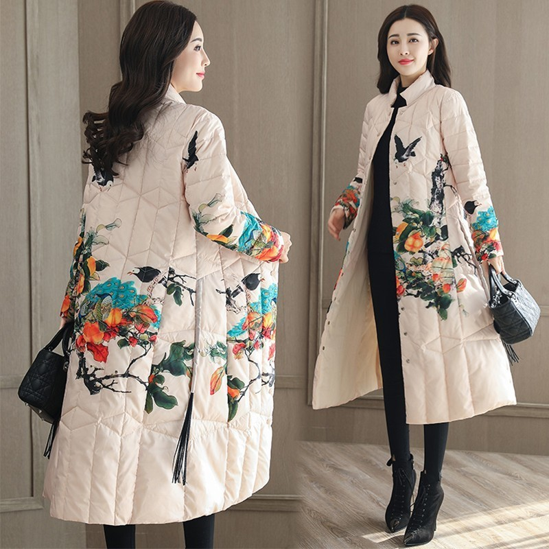 New White Retro Winter Jacket Women Fashion Print Coat Female Casual Down Jacket Long Lapels Tassel Loose Feather Overcoat Ls191
