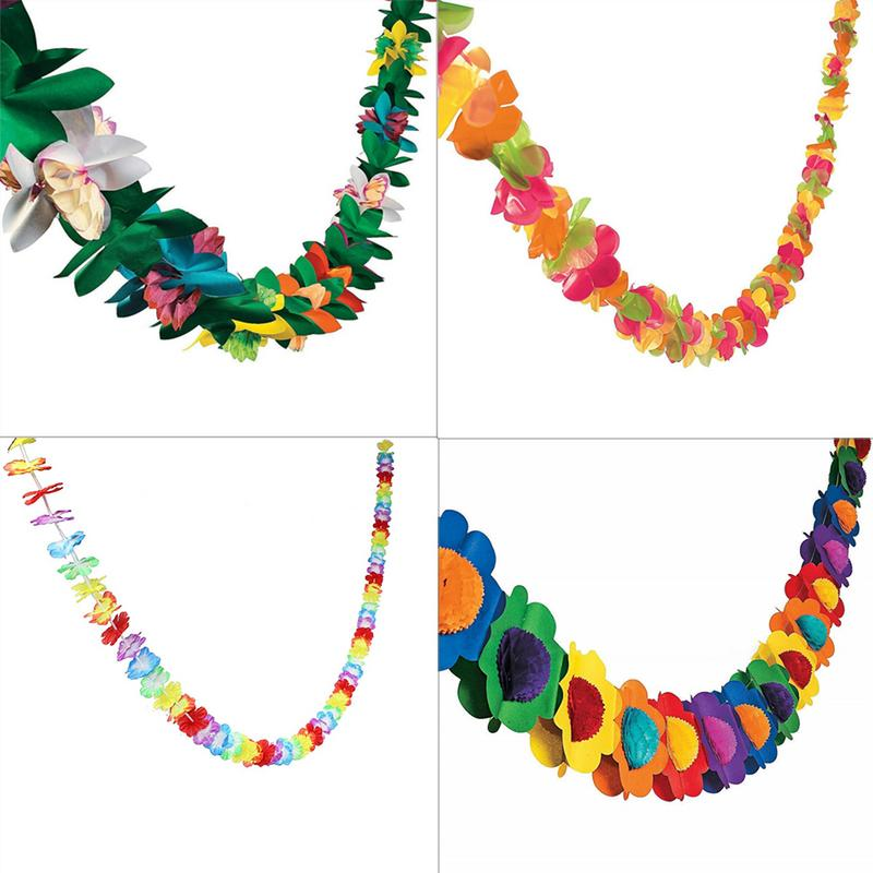 Hawaiian Leis Garland Artificial Necklace Hawaii Flowers Party Supplies Beach Fun Wreath DIY Xmas Gift Wedding Decorations Tools