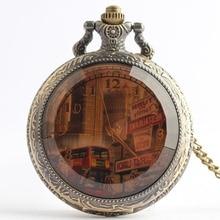Pocket Watch Jewelry City Bus Building Quarzt Pocket Watch N