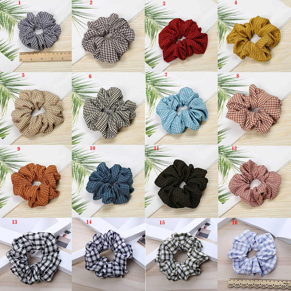 Fashion Women Spring Summer Plaid Hair Scrunchie Lovely Hair Scrunchies Girl'S Cute Girls Hair Accessories Ponytail Holder