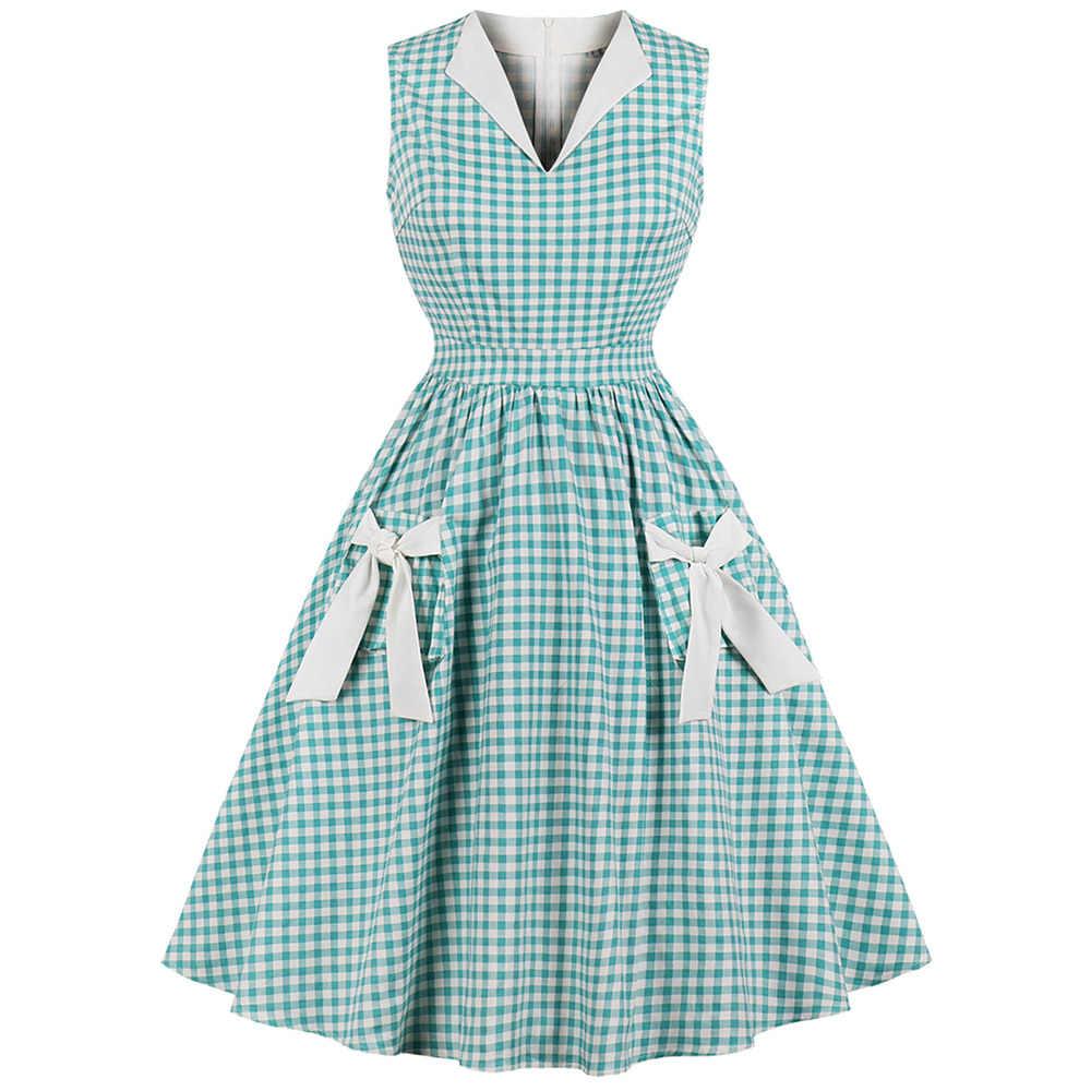 Sovalro винтажное женское платье в мелкую клетку с бантом, с v-образным вырезом, без рукавов, с высокой талией, ТРАПЕЦИЕВИДНОЕ вечернее платье, клетчатое платье с карманом в стиле ретро