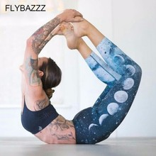 New Blue Moon Shade Print Yoga Legging For Women Ornamental Night Sky Printed Workout Sports Pants Starry Jogging Trousers