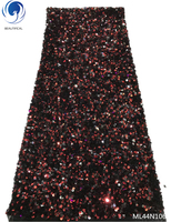 BEAUTIFICAL sequin tulle lace fabrics African French net tulle Lace Fabric bling lace fabrics with sequins 5yards/lot ML44N106
