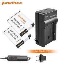 Powtree 1800mAh EN-EL12 EN EL12 Battery+Charger for Nikon CoolPix S610 S610c S620 S630 S710 S1000pj P300 P310 P330 S6200 L10 replacement lg laptop batteries for p310 p300 lb6211be eac40530401 apb8c 11 1v 6 cell