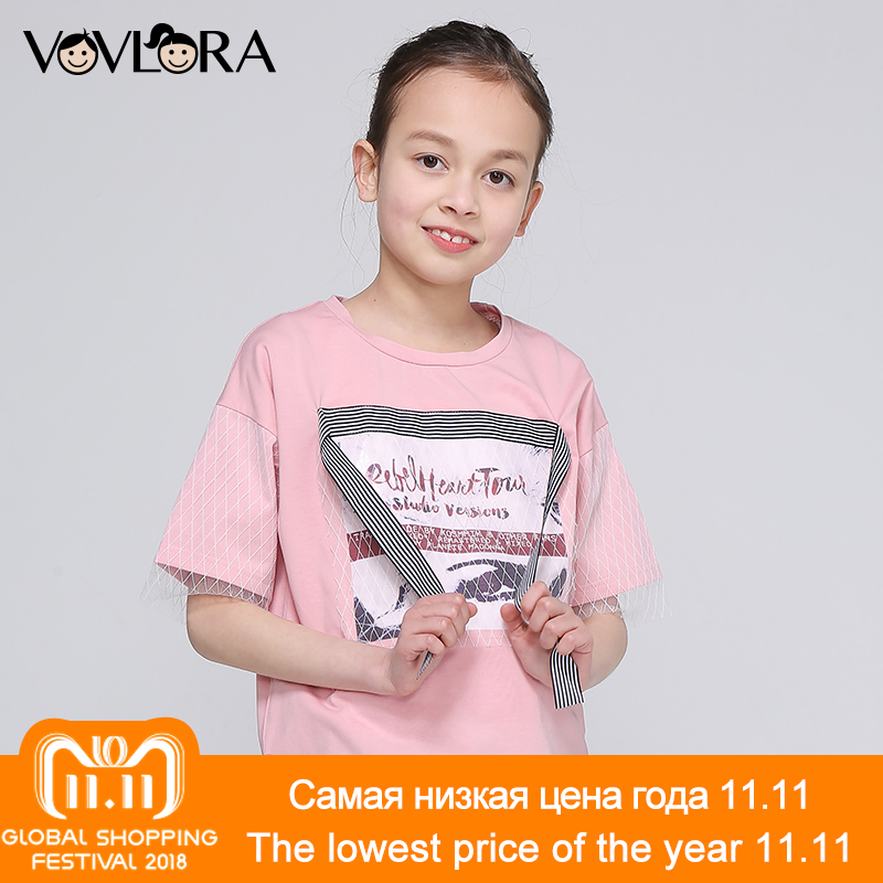 Girls Tops Print Letter Patchwork Mesh Ribbon Kids TShirt Side Slit O Neck Cotton clothes Summer 2018 Size 9 10 11 12 13 14 Year