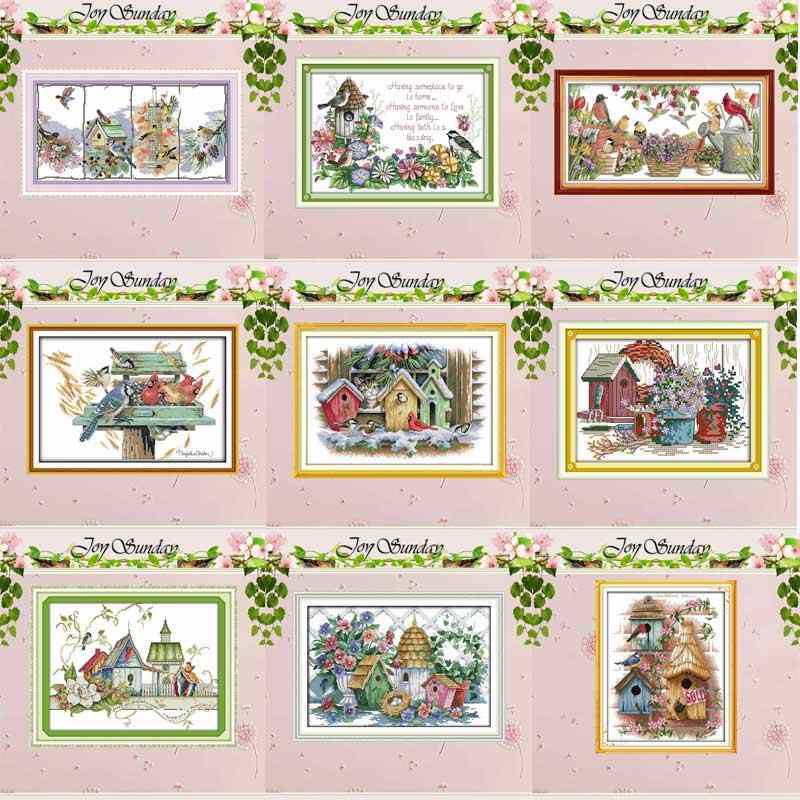 Bird house counted Cross Stitch 11CT 14CT Cross Stitch Set DIY animals wholesale Cross-stitch Kit Embroidery Needlework