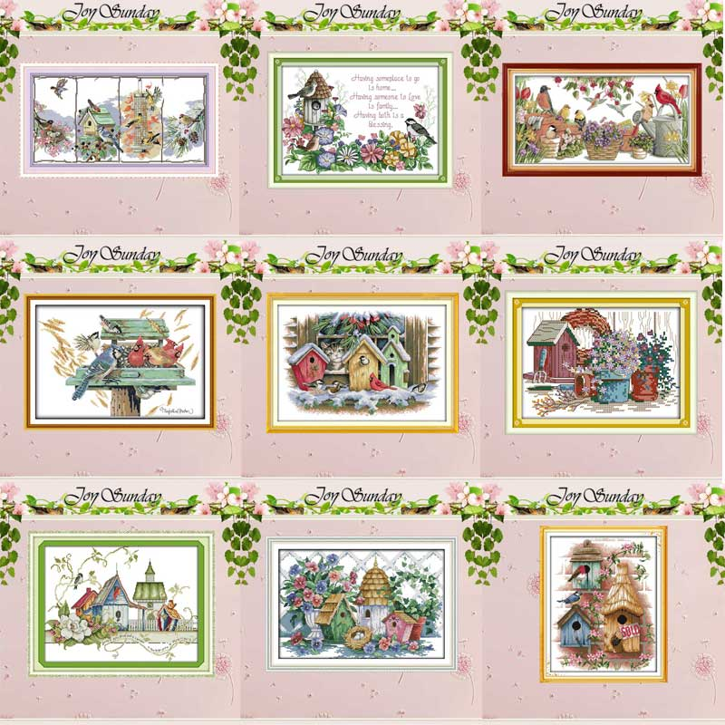 3 Joy Sunday Cross Stitch Kit 14CT Stamped Embroidery Kits Precise Printed Needlework The spirit of flowers 18/×35CM