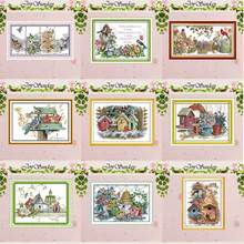 Bird house counted Cross Stitch 11CT 14CT Cross Stitch Set DIY animals wholesale Cross-stitch Kit Embroidery Needlework red rose on the table painting counted 11ct 14ct cross stitch wholesale diy cross stitch kit embroidery needlework home decor