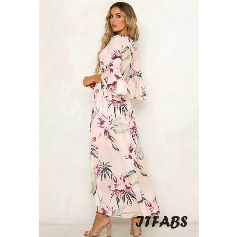 HIRIGIN femmes Boho Vintage Floral longue Maxi robe dame été Sexy col en v volant manches robes de soirée