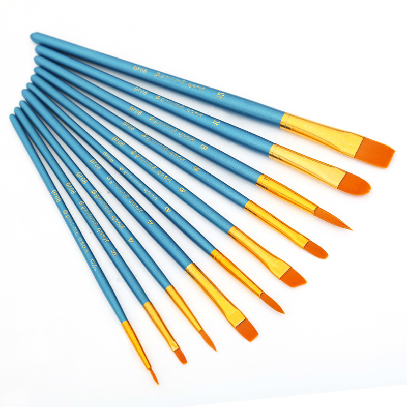 10pcs/set Nylon Watercolor Paint Brush Different Shape Round Pointed Tip Nylon Hair Water Color Painting Brush Set Art Supplies