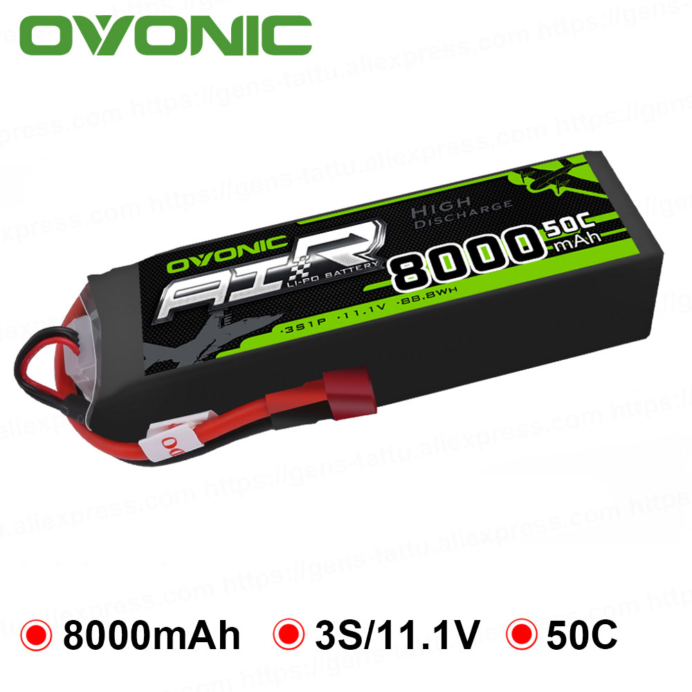 Ovonic 8000mAh 11.1V Lipo 3S 50C 100C Lipo Battery Pack T XT60 Plug for Big Size RC Car Heli Truck Quad Drone Boat Plane luces led de policía