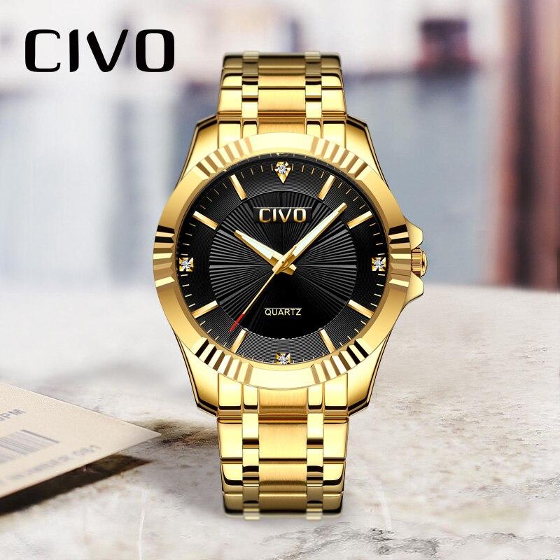 CIVO luxe Erkek Kol Saati étanche Quartz montres hommes montre-bracelet Design analogique or montres horloge Relogio Masculino