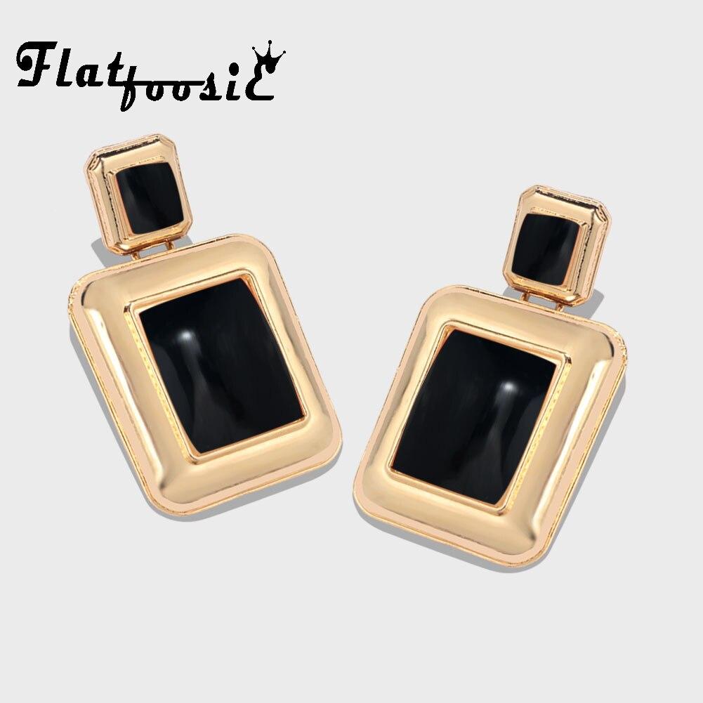 Flatfoosie ZA Metal Gold Coclor Drop Earrings For Women Vintage Trendy Punk Dangle Statement Luxury Party Gift Earring Jewelry