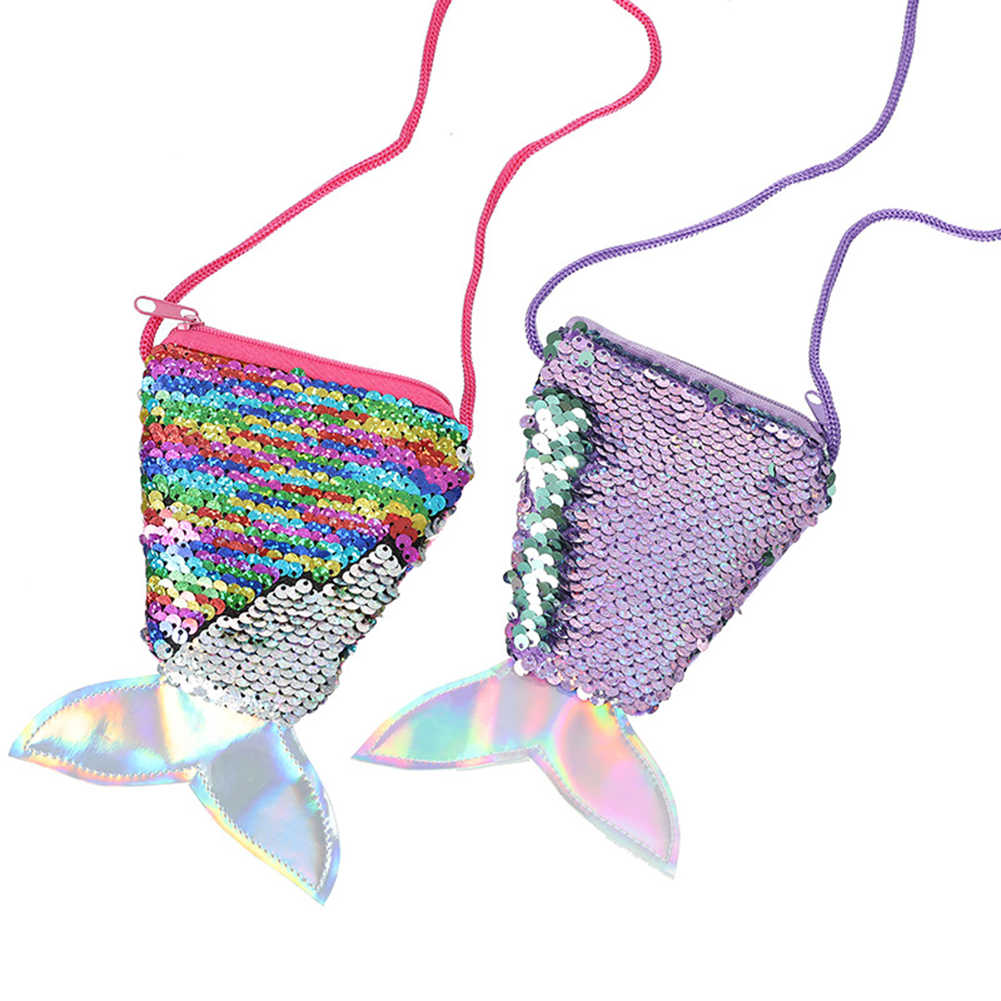 2019 Nieuwe Portemonnees Vrouwelijke Mini Tassen Vrouwen Creatieve Mermaid Tail Shining Pailletten Portemonnee Meisjes Crossbody Tassen Portemonnee Pouch