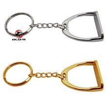 Цинка литья под давлением лошадиное стремя кольцо для ключей, с цепочкой и уплотнительное кольцо. серебристого цвета(SK006