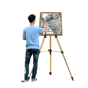 Image 1 - Aluminum Easel Stand Tripod Adjustable Height 19 55 Lightweight Sturdy Field Easel for Painting with Carrying Bag