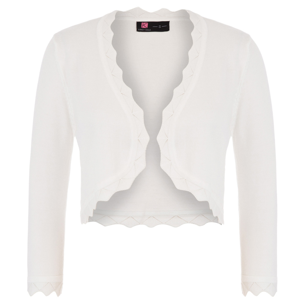 Women/'s 3//4 Sleeve Open Front Cropped Length Bolero Shrug Tops Knitting Cardigan