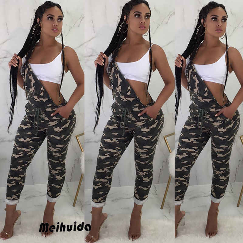 f0ce7f647ccd Women Ladies Playsuit Party Sleeveless Jumpsuit Romper Camouflage Pockets  Long Trousers Pants Clubwear Summer