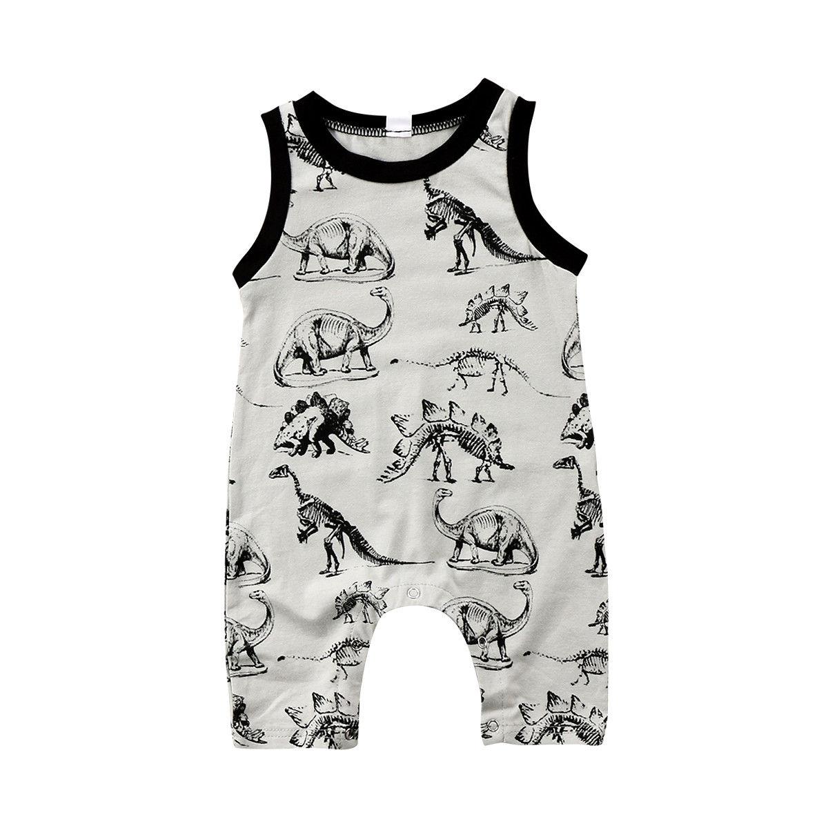 Newborn Baby Boys Girls Summer Cartoon   Romper   Infant Child Dinosaur Cute Jumpsuit Kids 2019 Cotton Causal Sleeveless Clothes