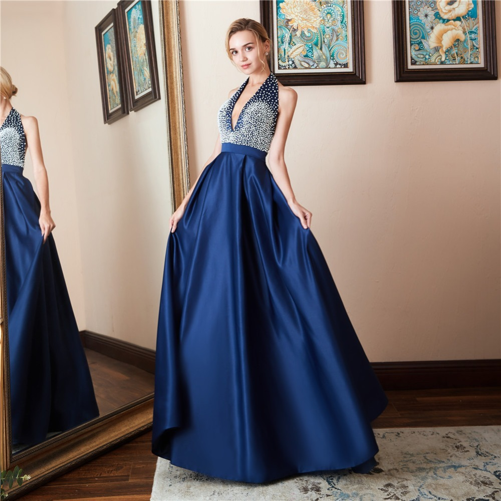 New Elegant Blue   Prom     Dress   Sexy Deep V Neck Halter Backless Beaded Long Formal Party Gowns For Wedding Guest Gala Jurken Dames