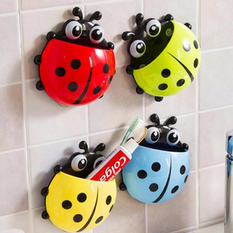 Ladybug Sucker Children Kids Toothbrush Holder Suction Hooks Toothbrush Wall Suction Bathroom Accessories