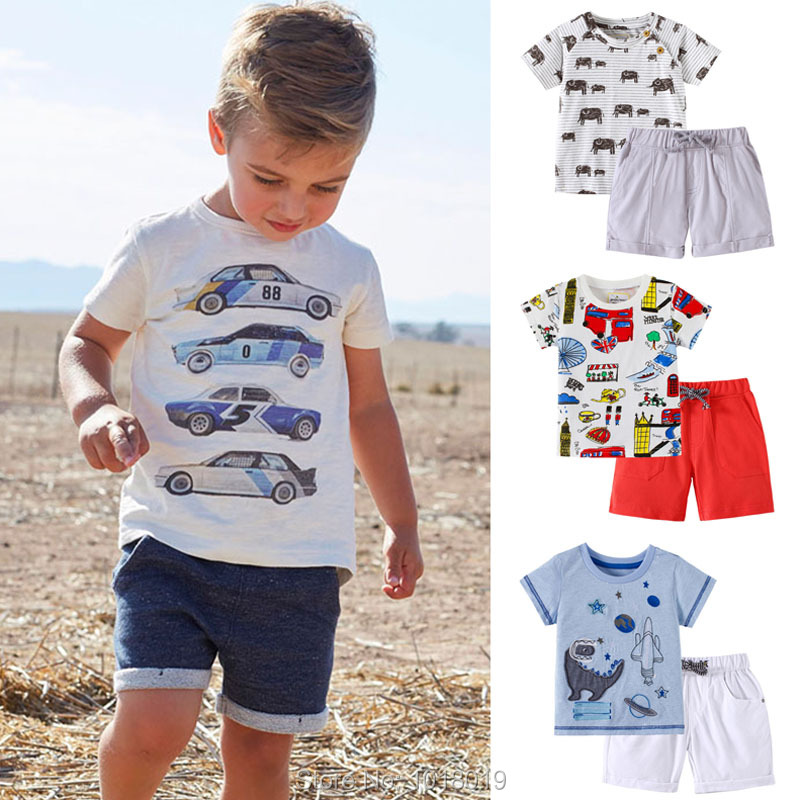 New 2019 Baby Boys Clothing Set Quality 100% Cotton Toddler Kids Clothes Short Sleeve Baby Boy Clothes Set Children Suit Outwear(China)