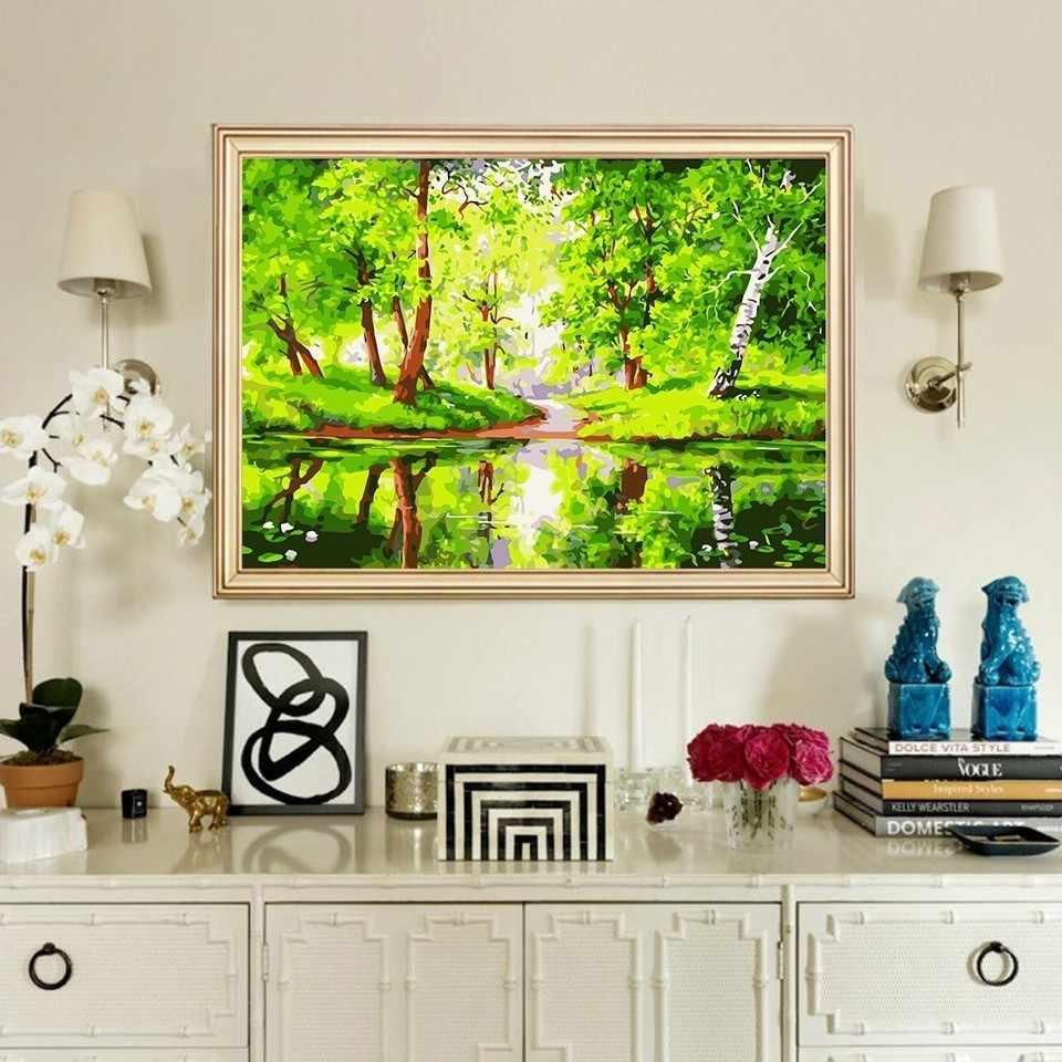 AZQSD pintura al óleo por número pintura lienzo bosque paisaje arte pintado a mano bosque DIY decoración moderna del hogar K041
