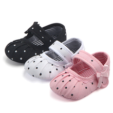 Toddler Infant Baby Girls Flower Bow Shoes Cute Polka Dot Crib Soft Sole Babe First Walker Newborn 0-18 Months