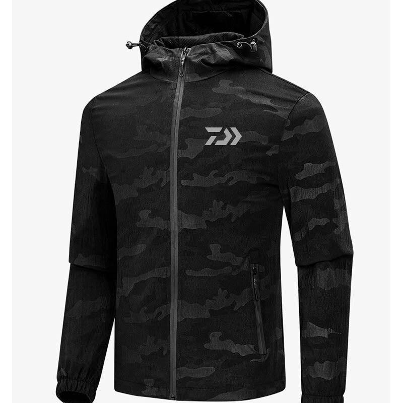 2019 Spring Autumn New Daiwa Man Fishing Clothing Soft Shell Balck Camouflage Jacket Keep Warm Waterproof