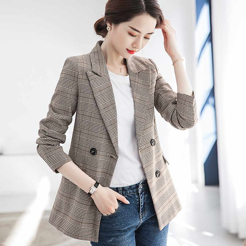 Forceful Plaid Suit Jacket Female 2019 Spring New Women's Double-breasted Slim Casual Small Suit Retro Check Small Suit Commuter Coat Clear And Distinctive