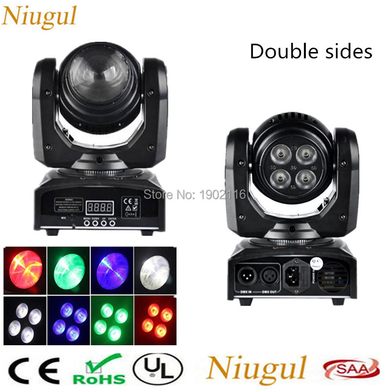 2pcs/lot LED Wash Double Sides 4x10W+4x10 RGBW LED Stage Light DMX512 Rotating Beam Effect Moving Head Lighting For Disco Party