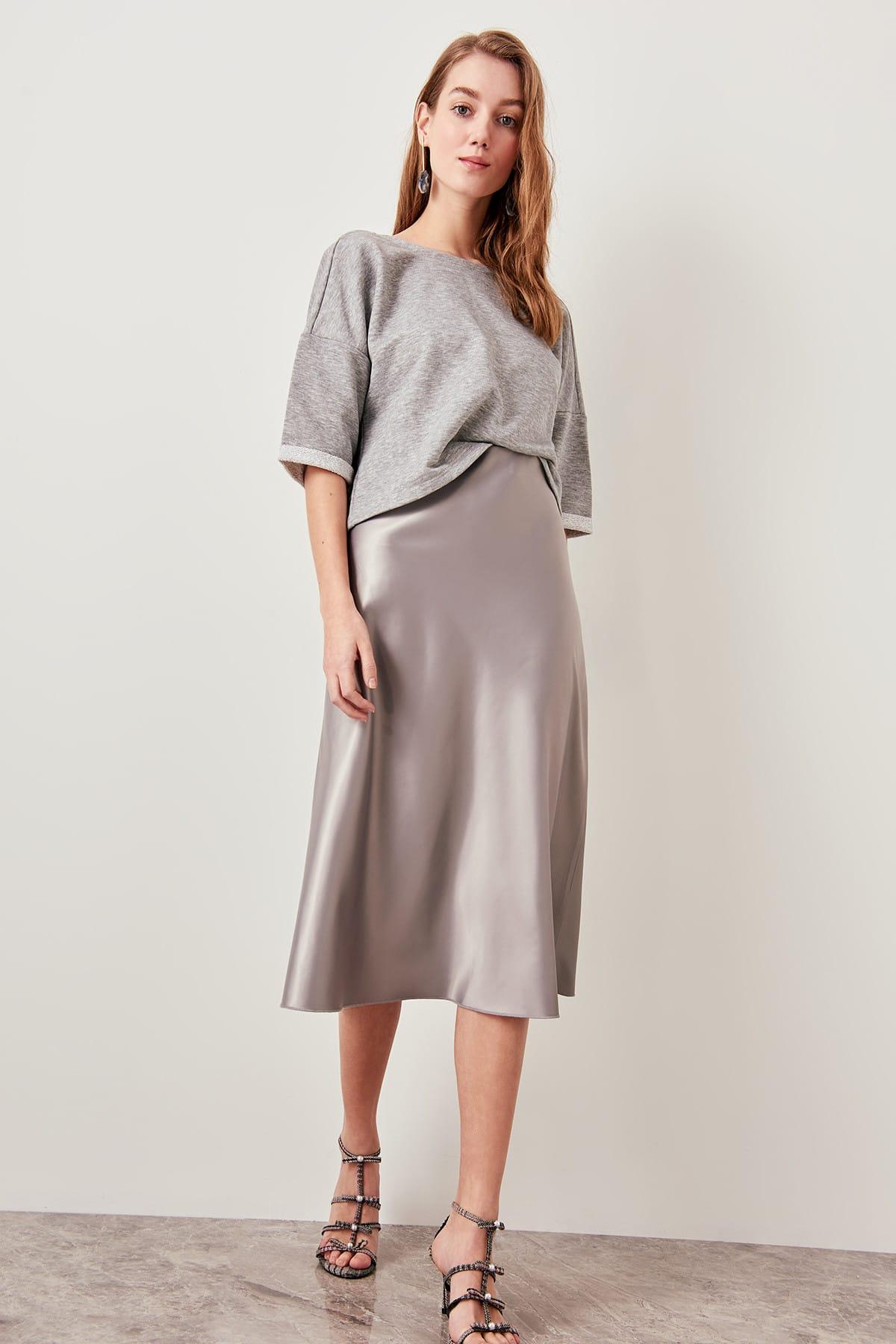 Женская шелковая сатиновая юбка Trendyol, серебристая, с высокой талией, до колена, StyleTOFSS19WX0013 Юбки      АлиЭкспресс