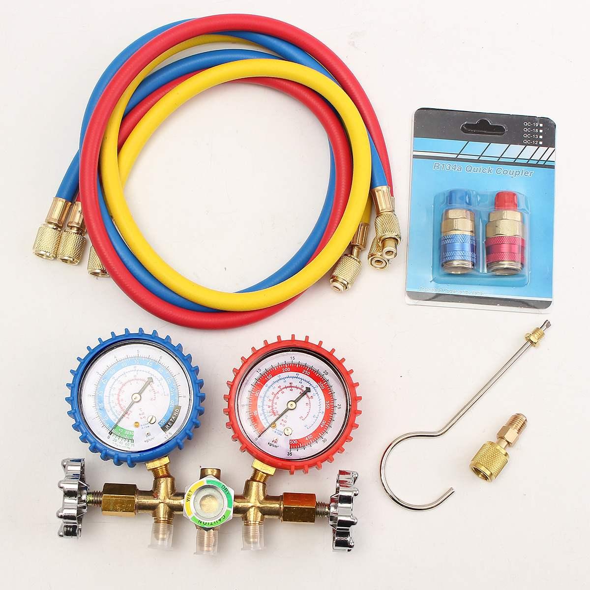 R12 R22 R134A HVAC A/C Refrigerante Manómetro Mangueira De Carregamento Conjunto de Reparação de Automóveis Kit Testadores De Vácuo Pressão Engates