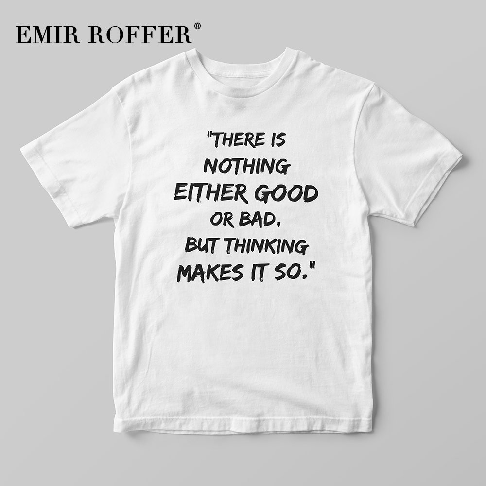EMIR ROFFER There Is Nothing Either Good Or Bad But Thinking Makes It So Vintage Shirt Women White Cotton Tshirts Summer Tops image
