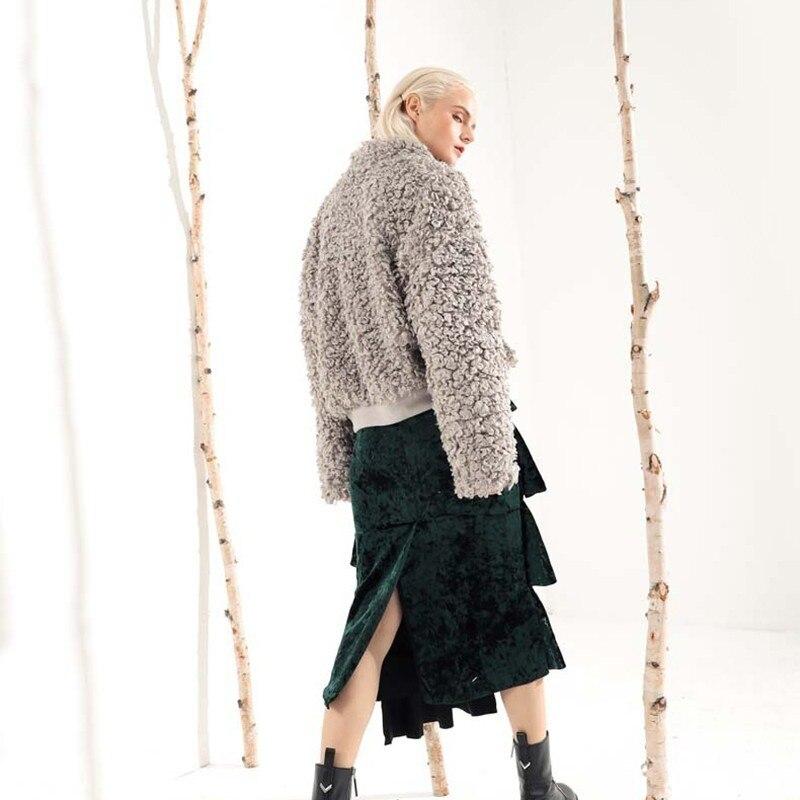 D'agneau Marée gray 2018 En Laine De Poche D'hiver Plaid Mode Manteaux Apricot Pour Automne Épais Femme Chaud Veste Femmes Vgh Nouveau Point q1wTBx