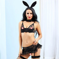 JSY Porno Women Bunny Girl Cosplay Sexy Uniform Lingerie Sexy Hot Erotic Transparent DRESS Erotic Lingerie Porno Costumes