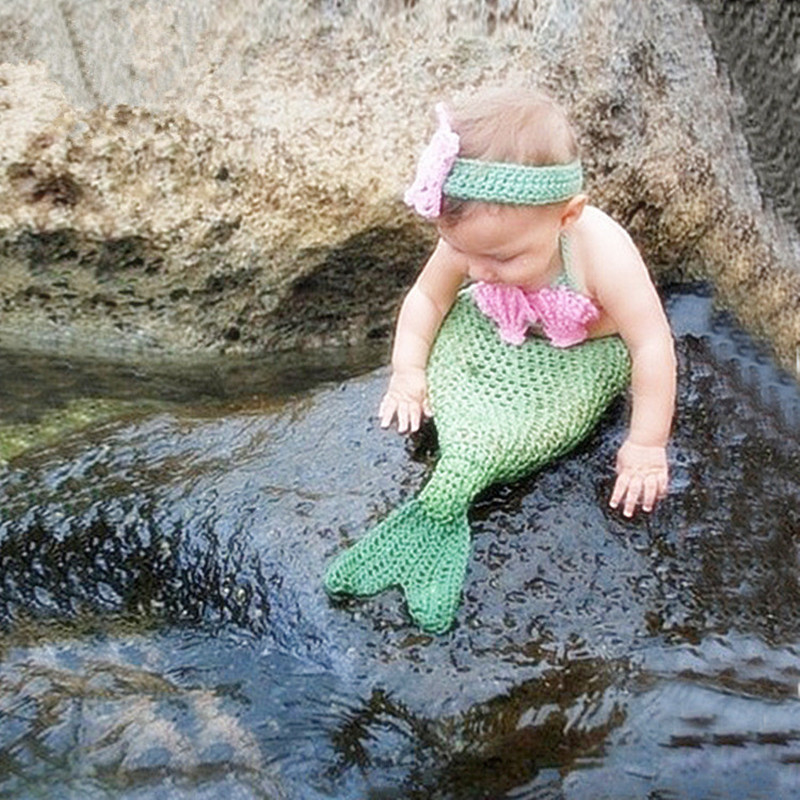 Baby Photography Props Infant Mermaid Costume Baby Photo Outfits Baby Crochet Prop Newborn Photography Accessories Fotografia