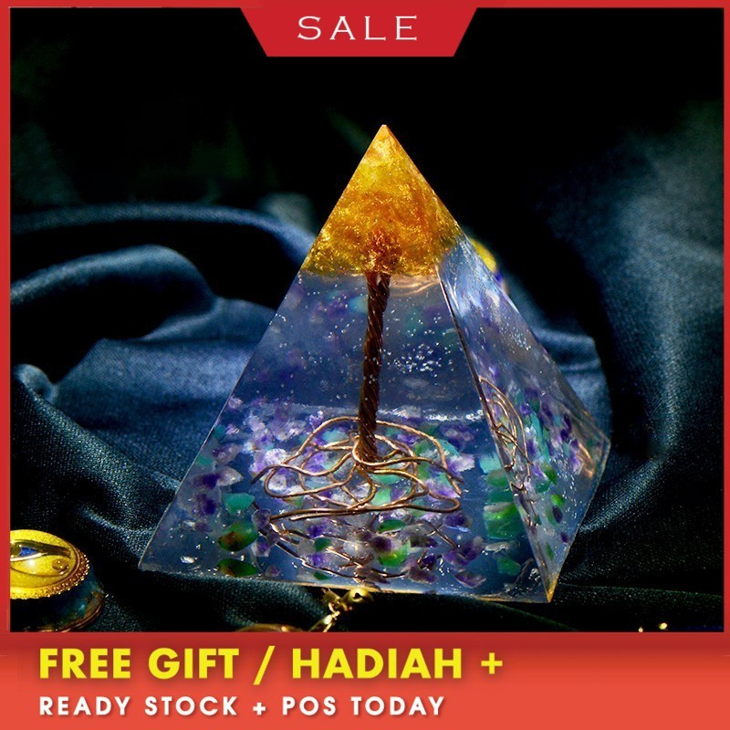AURA REIKI Orgonite Tree Of Life Natural Mineral Crystal Change Fortune Pyramid Reiki Stone Resin Decorative Craft Jewelry