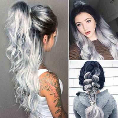 ... long curly hair wig Black White Women Glueless Wavy Cosplay Hair Wig  lace front human hair wigs 65cm wig accessories on Aliexpress.com  6fb2162a51